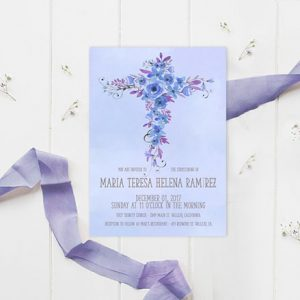 Watercolor flower cross baptism invitations for boys
