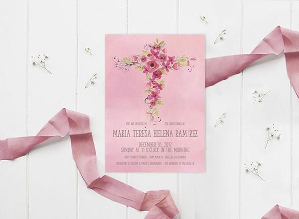Watercolor flower cross baptism invitations for girls