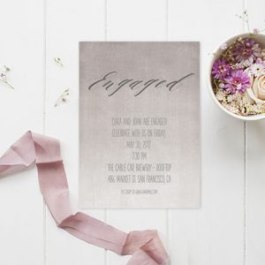 Grey / Gray Watercolor Ombre Engagement Party Invitations