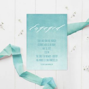 Turquoise Watercolor Engagement Party Invitations
