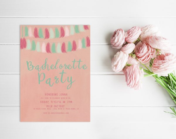 watercolor coral pink & mint tassel garland bachelorette party invitations