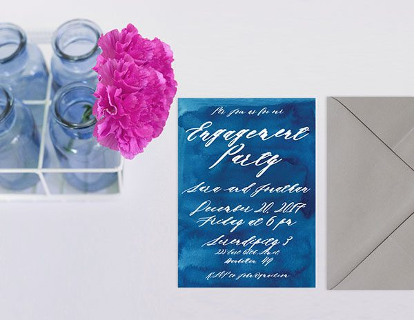 Indigo Blue Watercolor Engagement Party Invitations