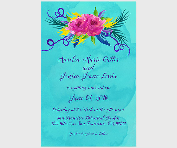 THE AURELIA - Love Wins Turquoise Wedding Invitations