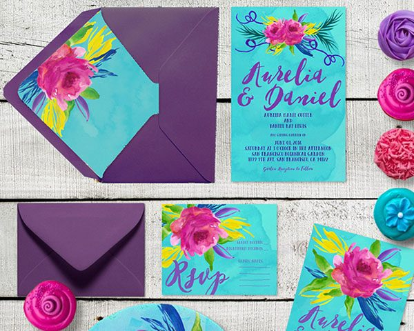 Colorful Watercolor Flowers Wedding Invitations
