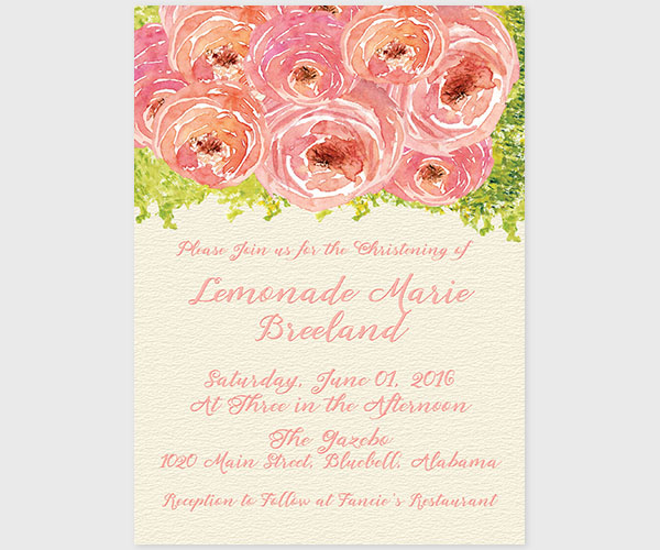 THE LEMON- Coral pink watercolor peonies baptism invitations