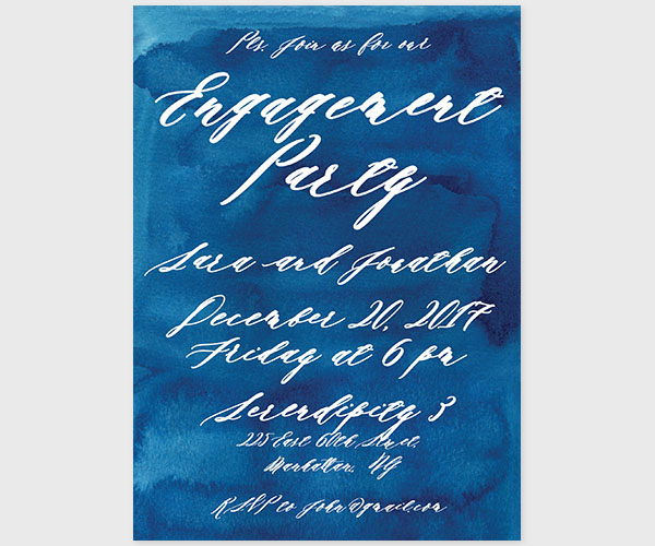 The Sara – Indigo Blue Watercolor Engagement Party Invitations