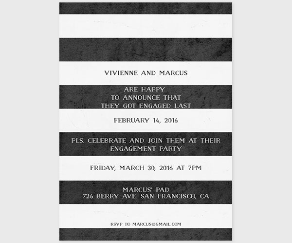 The Vivienne – Black & White Stripes Engagement Party Invitations