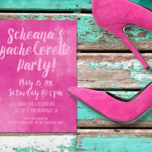 Fuchsia watercolor bachelorette party invitations