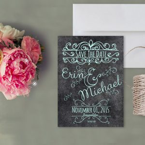 Robin Egg Blue Chalkboard Save the Date Cards