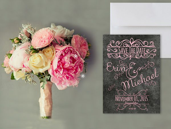 Pastel Pink Chalkboard Save the Date Cards