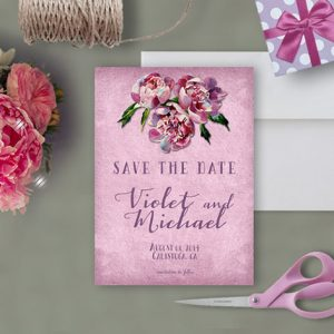Napa Valley wedding lilac save the date cards