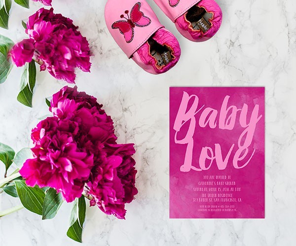 Baby Love Fuchsia pink watercolor baby shower invitationswatercolor baby shower invitations