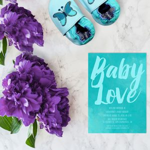 Aqua watercolor brush baby shower invitations