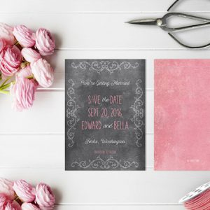 Chalkboard scroll coral pink save the date cards