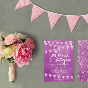 Purple Bunting & Polka Dots Engagement Party Invitations