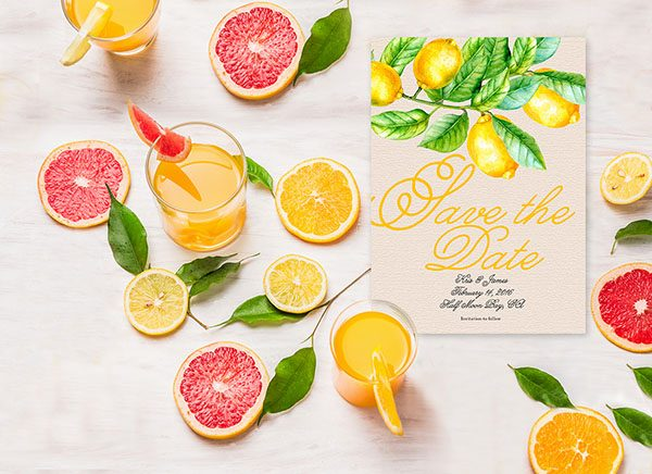 Yellow Lemons Save The Date Cards