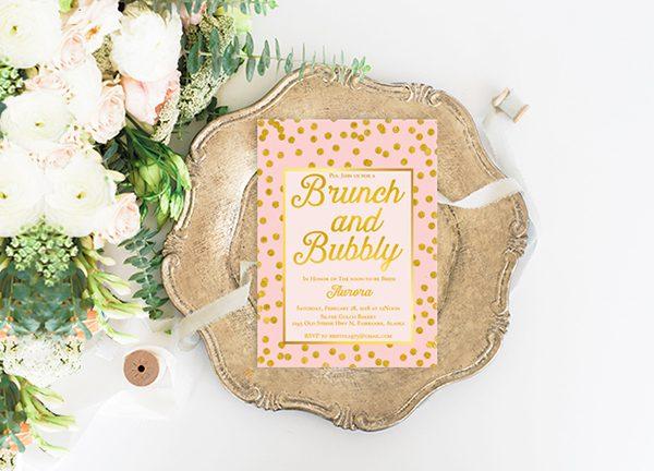 Blush & gold confetti bachelorette party invitations