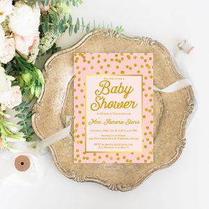Blush and Gold Baby shower cards
