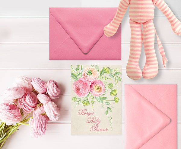 Coral pink ranunculus baby shower invitations
