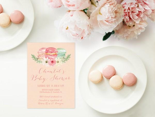 Macaron blush baby shower invitations
