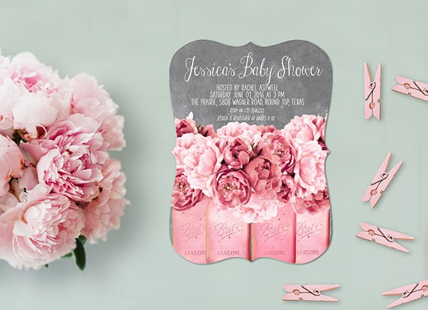 Shabby chic coral pink peonies baby shower invitations