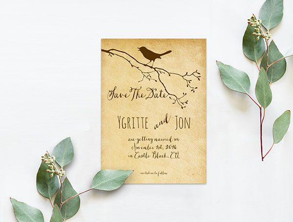 Brown bird on a tree branch save the date cards
