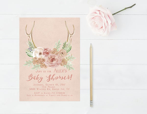 Rustic chic antler blush baby shower invitations