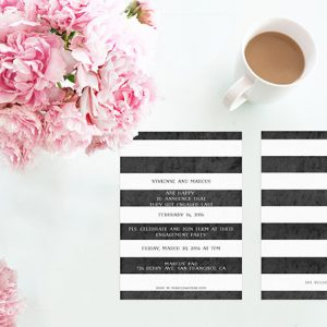 Black & White Stripes Engagement Party Invitations