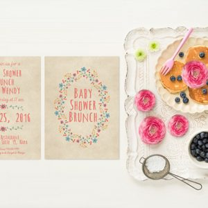 Shabby chic wreath baby shower brunch invitations