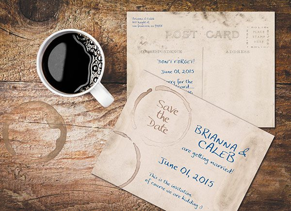 Vintage Postcards / Coffee Stained Grunge Save the Date Cards