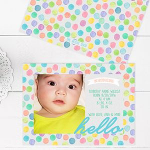 Watercolor polka dots baby announcements or birth announcements