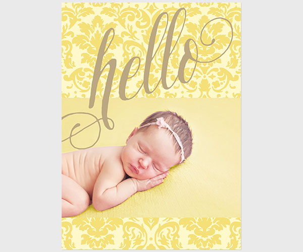 Yellow damask formal calligraphy baby announcements