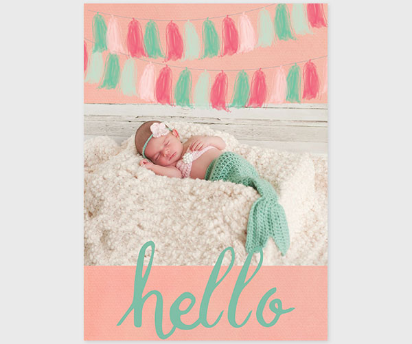 THE JENNA- Coral pink & mint tassel garland baby announcements