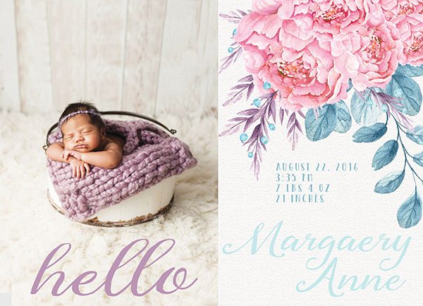 THE MARGAERY- Coral pink peonies baby announcements