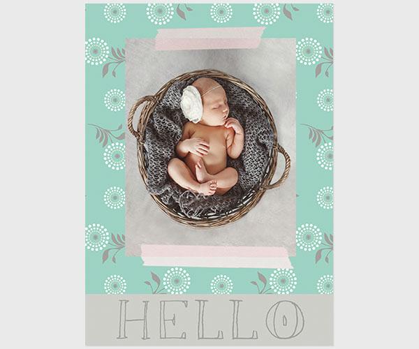 Robin egg blue flower modern baby announcements
