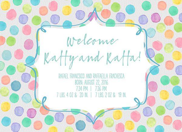 pastel polka dots twins birth announcements