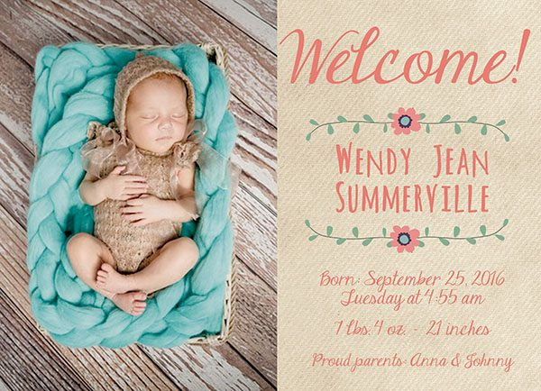 THE WENDY- Boho chic bohemian baby announcement