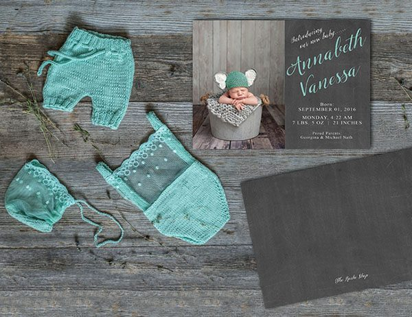 Chalkboard chic birth or baby announcements