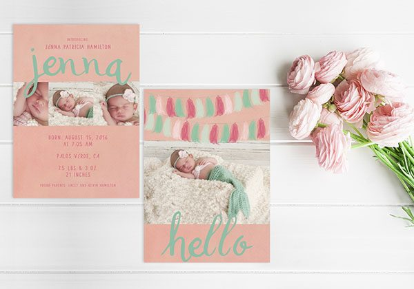 Coral pink & mint tassel garland baby announcements