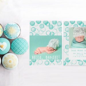 mint green watercolor circle dots baby announcements