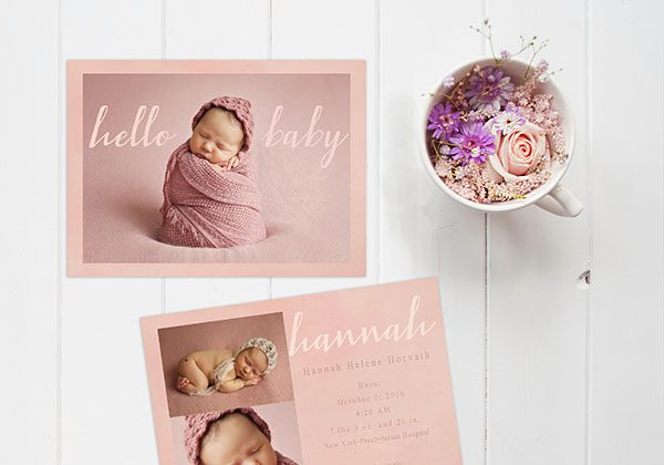 Blush pink calligraphy baby announcements