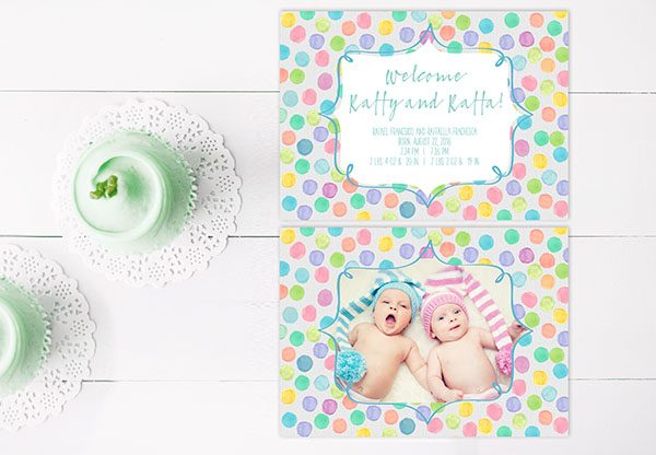 Watercolor pastel polka dots twin babies birth announcements