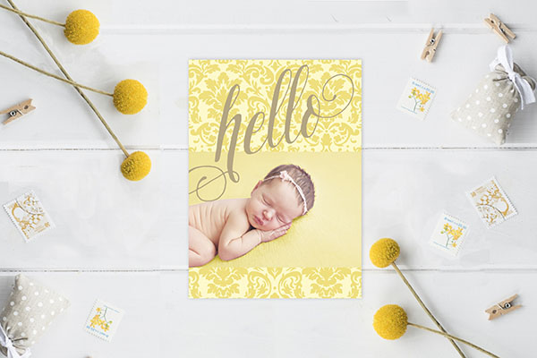 Yellow damask formal baby announcements