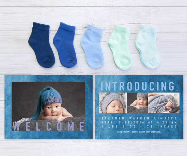 Royal blue modern watercolor baby announcements or birth announcements