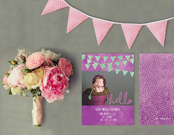 Purple polka dot bunting baby birth announcements