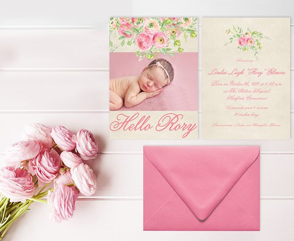 coral pink watercolor ranunculus birth or baby announcements