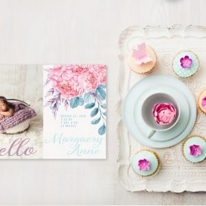 Coral pink peonies birth announcements or baby announcements