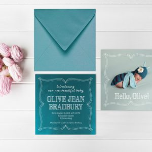 Doodle border teal green baby birth announcement