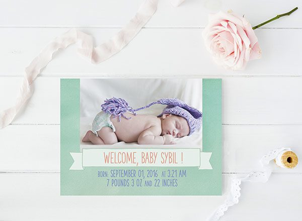 THE SYBIL- Shabby chic Watercolor mint green birth announcements