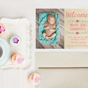 Boho chic bohemian baby announcement